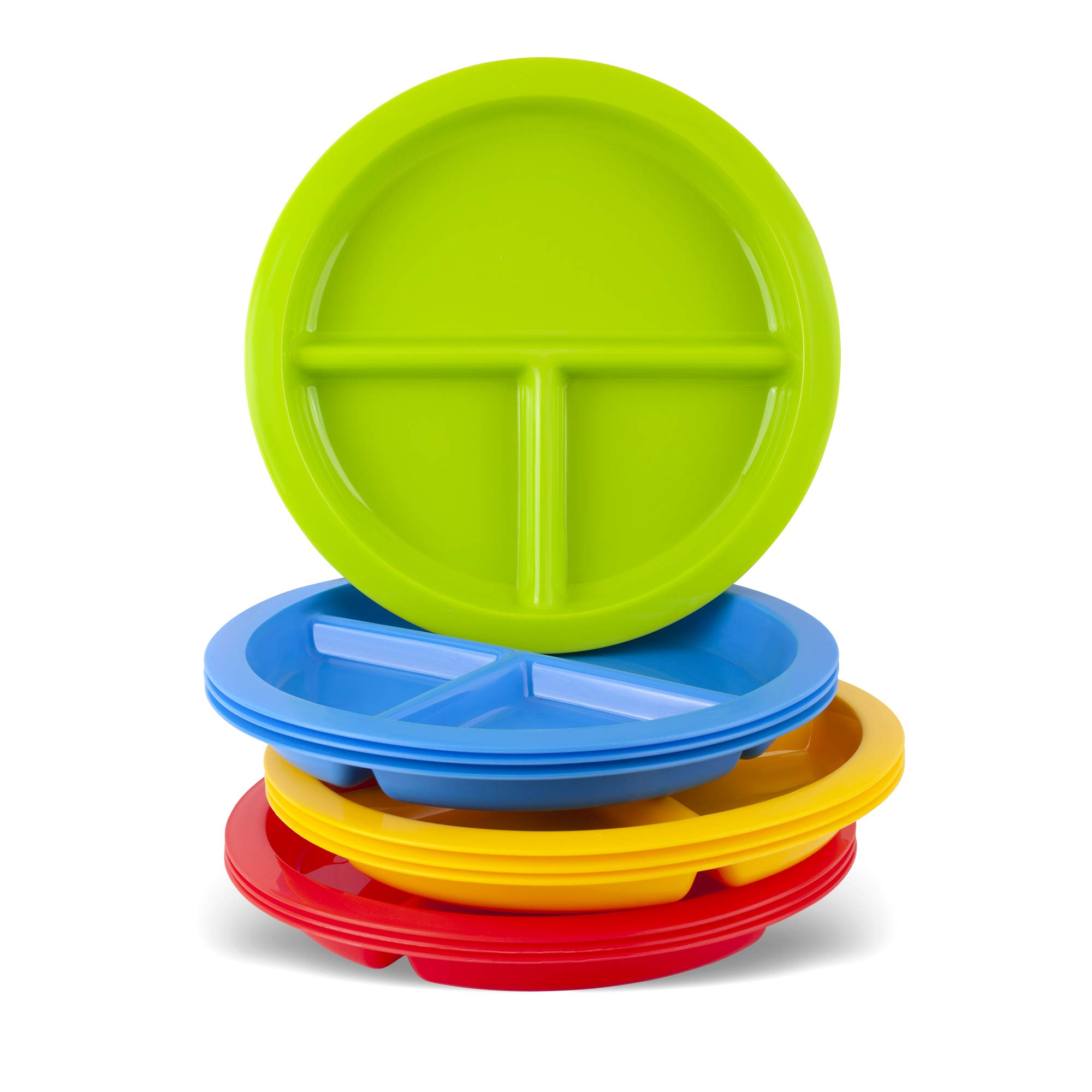 Plaskidy 3 - Compartment Divided Plates for Kids - Set of 12 Plastic Children Trays for Eating with Dividers - 4 Bright Colors (3 of Each Color) Dishwasher Microwave Safe BPA Free for Toddler and Kids