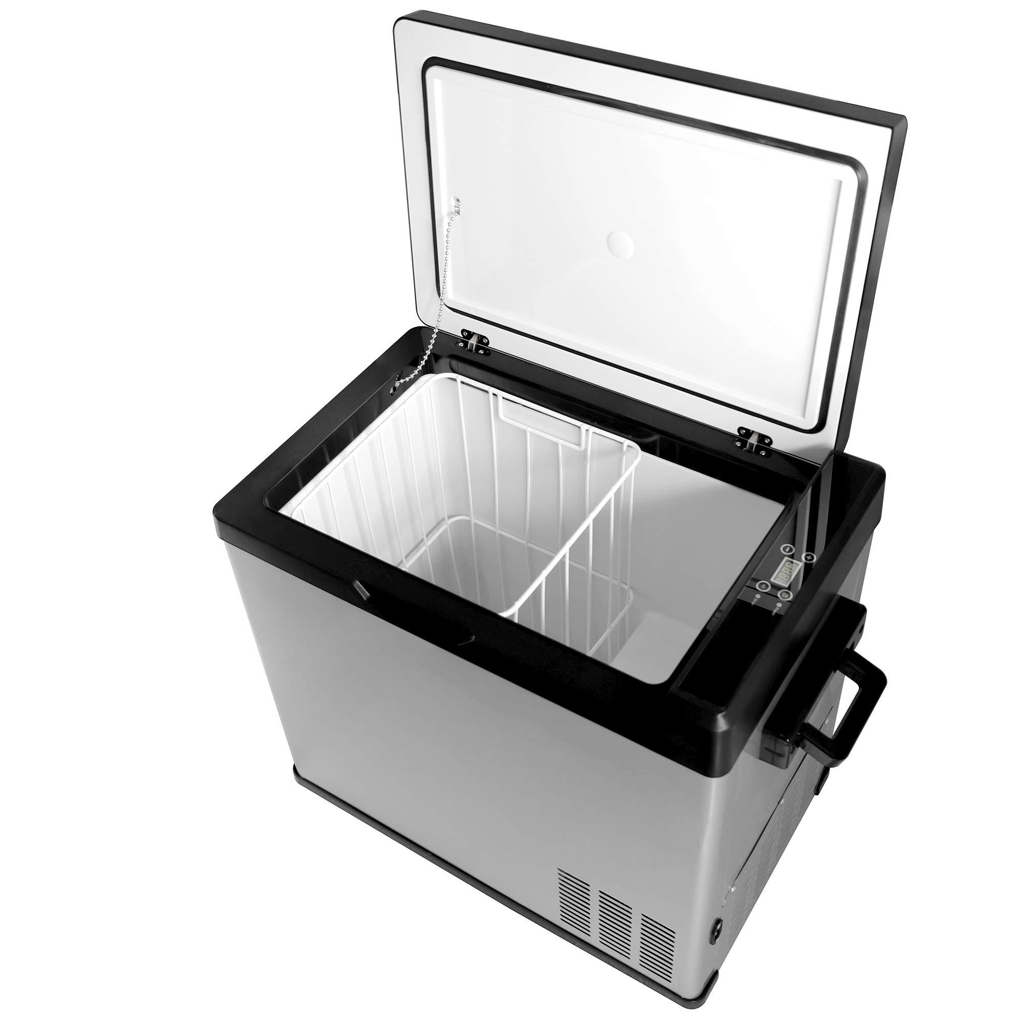 Northair Compact Car Refrigerator Portable Fridge Freezer with Temp Display,50 Liter/53 Quart,-13°F~68°F,DC12/24V AC110V Compressor Cooler for Car, Truck, RV,Boat,Camping,Road trip, Household