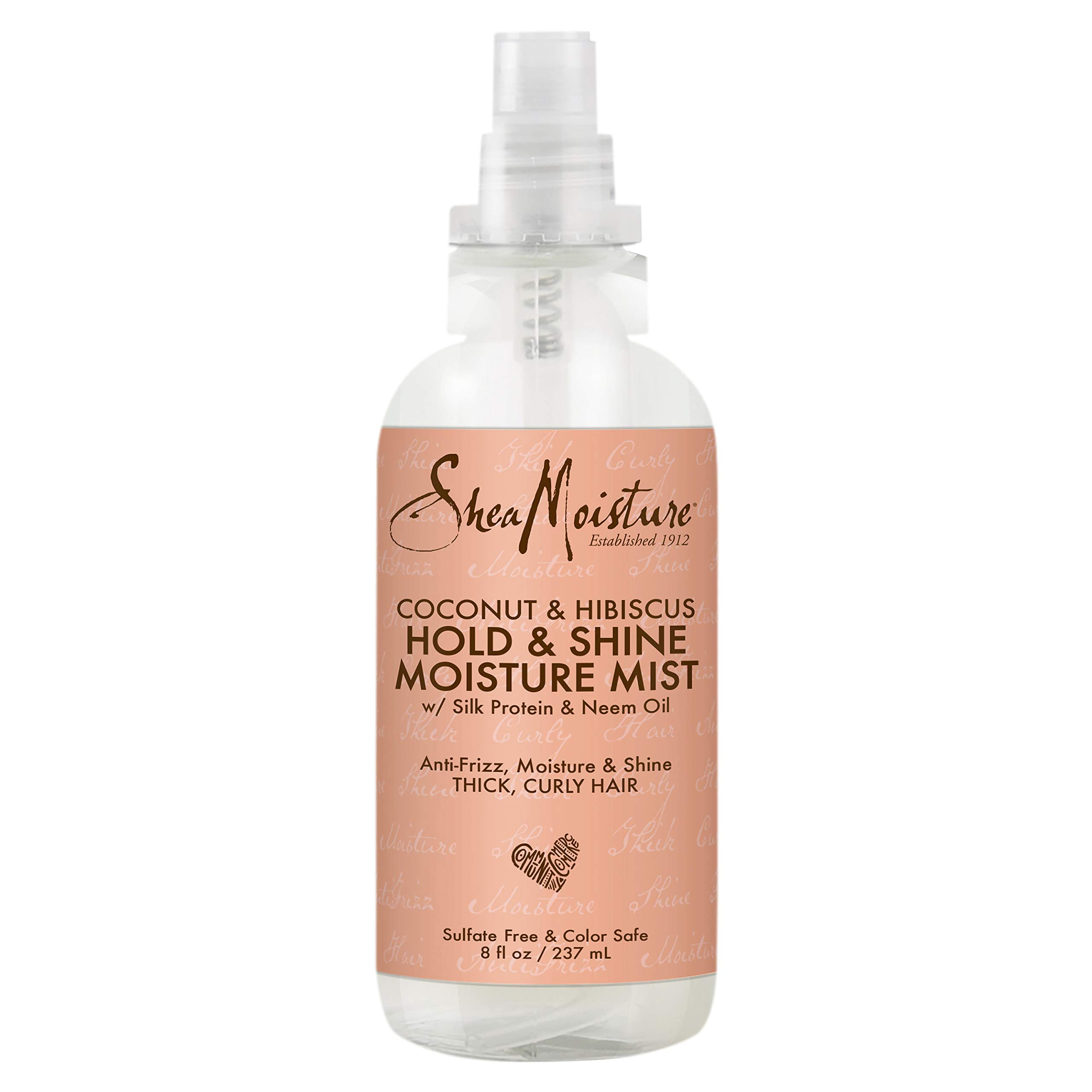 SheaMoisture Hold & Shine Moisture Mist for Thick, Curly Hair Coconut & Hibiscus for Frizz Control 8 oz
