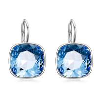 AOBOCO Sterling Silver Leverback Earrings, Simulated Birthstone Crystals from Swarovski, Hypoallergenic Cushion Cut Cube Crystal Earrings, Elegant Anniversary Birthday Jewelry Gifts for Women