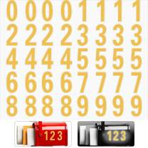 40 Pieces Reflective Mailbox Number Sticker Decal Adhesive Reflective Address Numbers Number 0-9 Waterproof and Fade-Resistant for Window, Signs, Door, Cars (Transparent, Gold, 3 Inch)