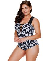 LALAGEN Women's Plus Size Zigzag Tummy Control One Piece Swimwear Monikini