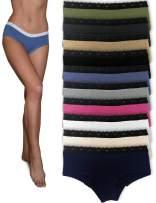 Sexy Basics Womens 12 Pack Grab Bag Cotton Spandex Boyshort Briefs, Colors May Vary
