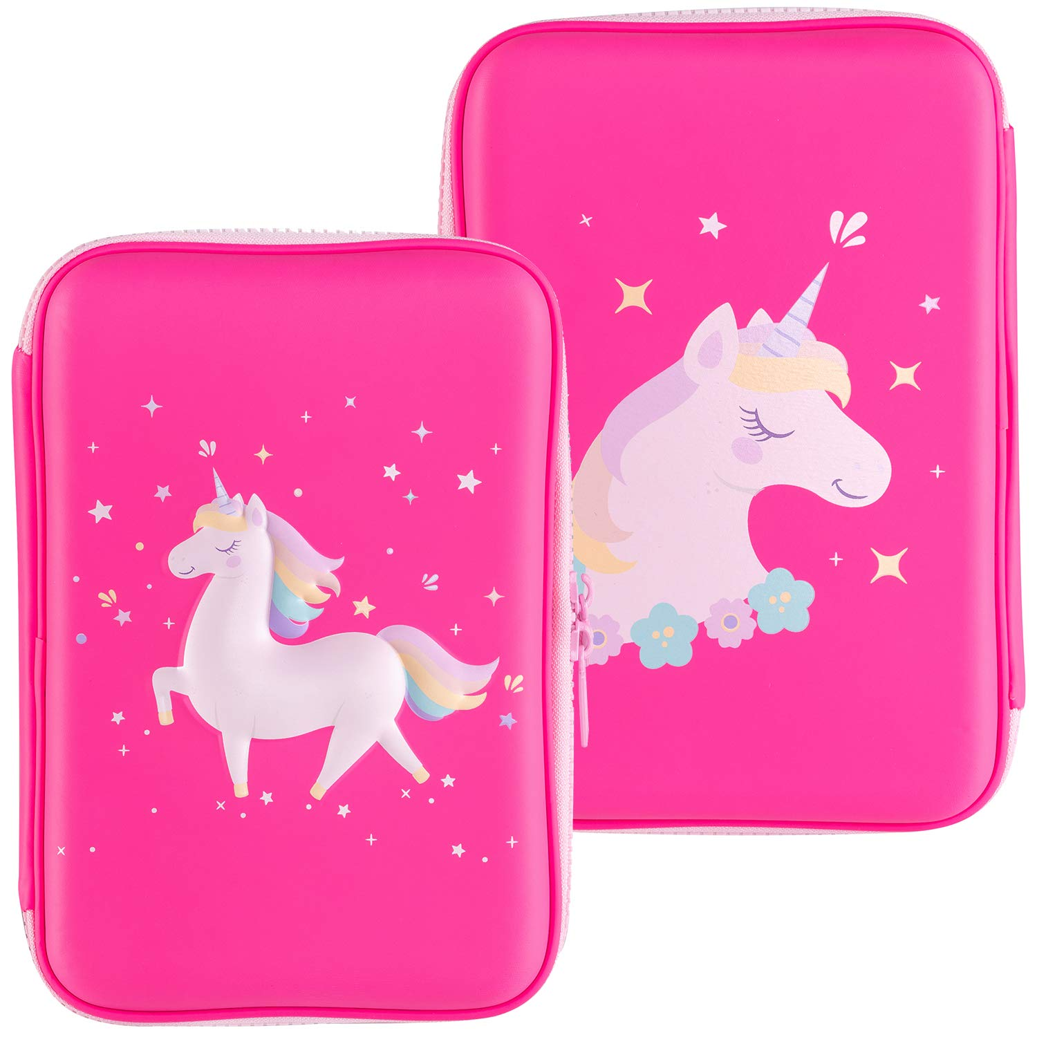 Gooji Unicorn Pencil Case for Girls (Hard Top) Magical 3D Creature, Bright Colored Storage Box | Compact and Portable Home, Classroom, Art Use | for Markers, Pens, Colored Pencils (Pink)