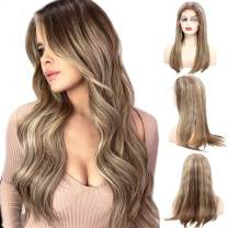 Pre Plucked Lace Front Human Hair Wigs Balayage Chestnut Brown with Blonde Highlights Remy Lace Wig 150% Density Brazilian Straight Remy Hair Wig Bleached Knots Free Part for White Women 20 Inch
