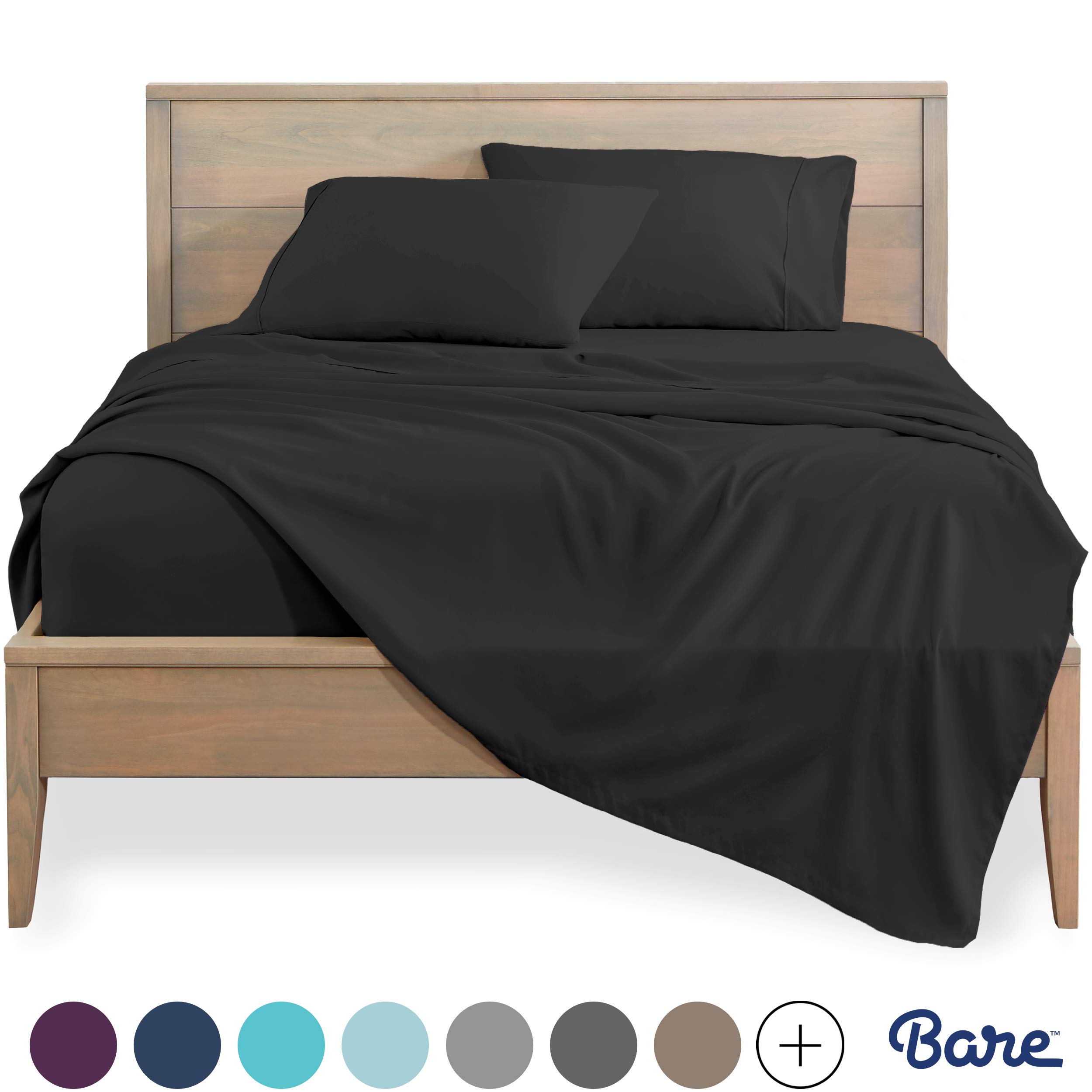 Bare Home California King Sheet Set 1800 Ultra Soft Microfiber Bed Sheets Double Brushed Breathable Bedding Hypoallergenic Wrinkle Resistant Deep Pocket Cal King Charcoal