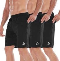 "SILKWORLD Men's 7"" Athletic Running Shorts withZipper Pockets(Pack of 3)"
