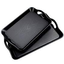 Uniyou Wood Grain Serving Tray with Handles Rectangular Thickened Waterproof Heat Resistant Plastic Serving Tray with Wide Handle, Black 16.5'' x 11'' and 14.5'' x 9''