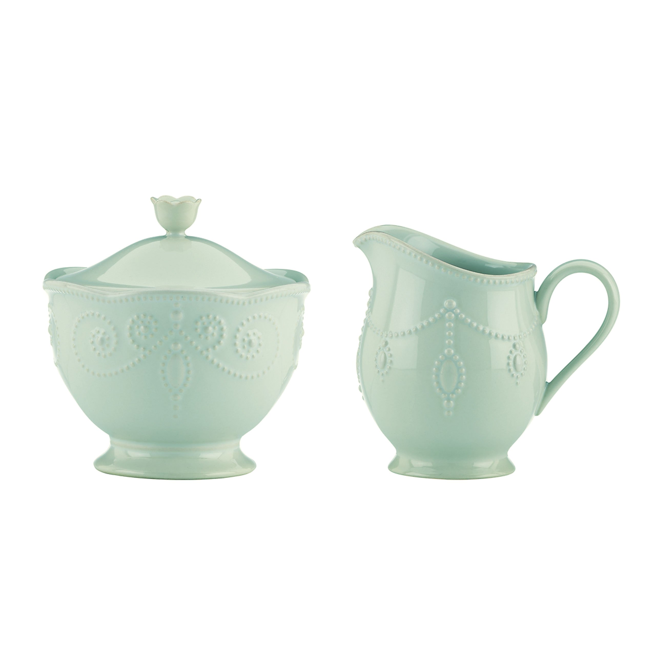 Lenox French Perle Sugar and Creamer Set, Ice Blue - 824408