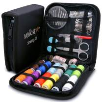Vellostar NEEDLE and THREAD KIT for SEWING – Portable Basic Sewing Kits for Adults for On The Go Repairs – Travel Sewing Kit for Quick Fixes, a Small Sewing Kit with Multiple Color Threads, Black