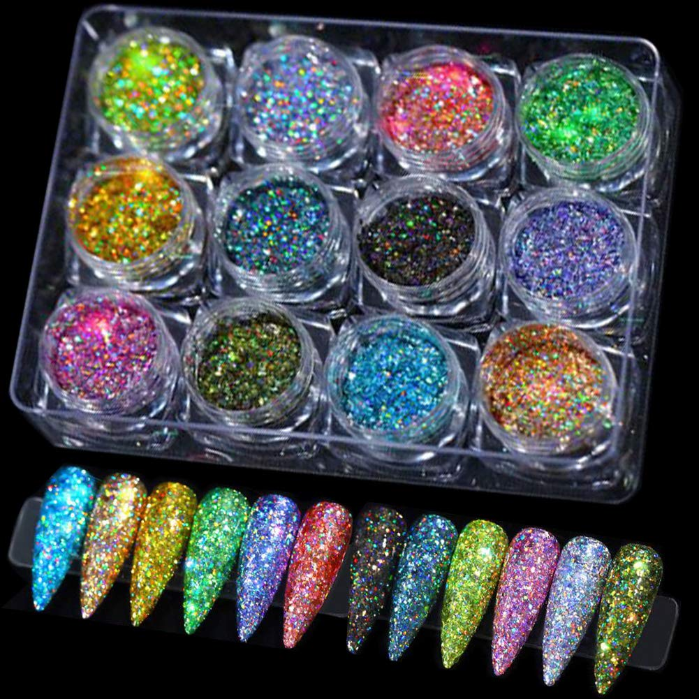 LuckForever 12 Colors Holographic Nail Glitter Sequins Powder Laser Sparkle Resin Art Glitter for Crafts, Makeup, Acrylic Nail Art (Rainbow 01)