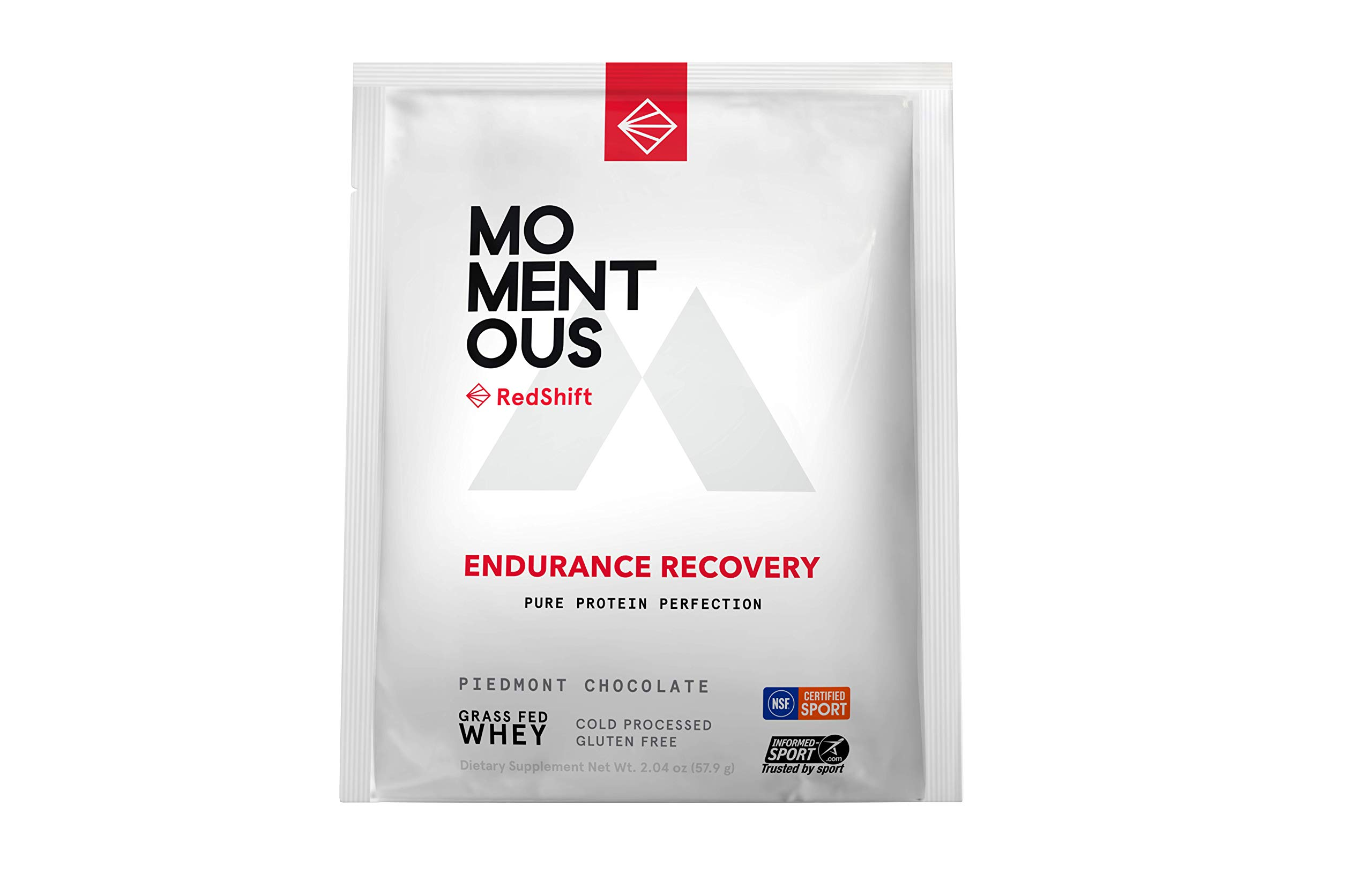 RedShift Grass-Fed Whey Protein Isolate, 14 Serving Pouches for Endurance Recovery, Post-Workout Protien Powder, Gluten-Free, NSF Certified Non GMO - Momentous (Chocolate)