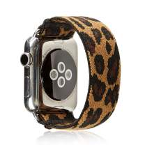 Elastic Band Compatible for Apple Watch, Scrunchie Stretch Wristbands Replacement Bracelet Loop Sport Strap for iWatch Series 1 2 3 4 5, Men Women Girls, Cheetah, 38/40mm, S