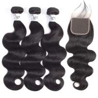Igrina 8A Brazilian Body Wave Virgin Hair 3 Bundles With 4x4 Free Part Lace Closure With Baby Hair Unprocessed Wet And Wavy Human Hair Bundles Weave Brazilian Remy Hair Extensions Deals 22 24 26+20