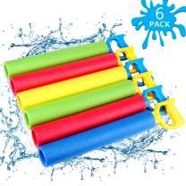 NZQXJXZ Foam Water Shooter for Kids, 6 Pack Water Guns Toys Water Blaster for Boys Girls Adults Swimming Pool Beach Summer Outdoor, Water Squirt Guns Set Up to 31ft