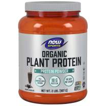 NOW Sports Nutrition, Organic Plant Protein 18 Grams, Creamy Chocolate Powder, 2.2-Pound