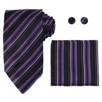 Y&G Men's Fashion Classic Necktie Cufflinks Hanky Mens Multi-colored Silk Necktie Wedding Gift 3PT