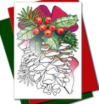 Art Eclect Adult Coloring Christmas Cards 12 Cards With 12 Unique Designs, 6 Red and 6 Green Envelopes Included (Christmas Set B1)