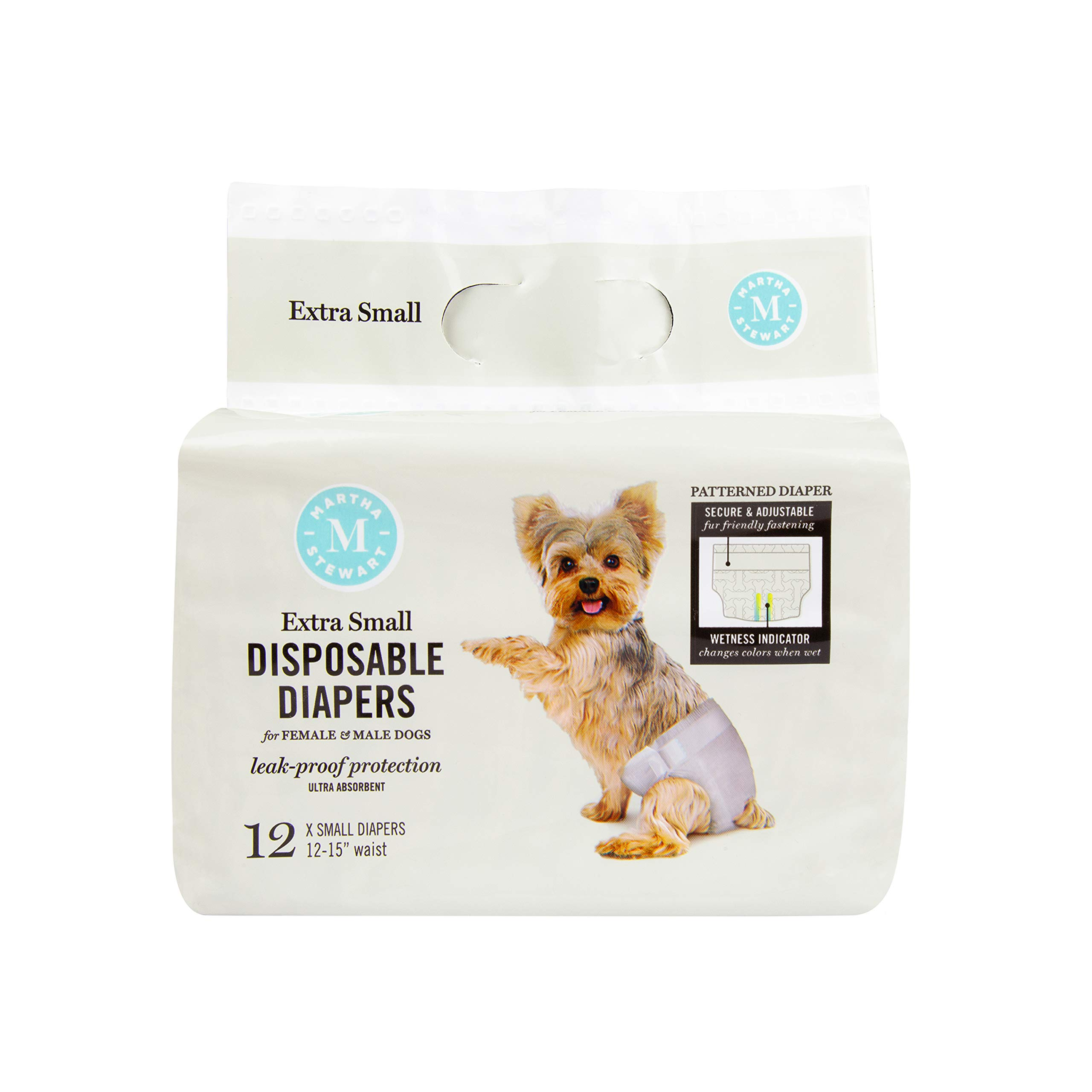 Martha Stewart for Pets Dog Diapers and Wraps | Disposable Male and Female Dog Diapers, 12 Count | Leakproof and Absorbent Dog Diapers