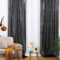Sequin Backdrop 2ft x 8ft Photo Booth Black Glitter Curtain Wedding Sparkly Background Sequin Fabric