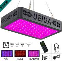 LED Grow Light, UEIUA 2000W Full Spectrum Remote Control Grow Lamp for Indoor Plants with Multiple Functions Including Temperature-Humidity Monitor/Group Control/Timing/Lamp Mode Switch