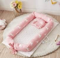 Brandream Girls Baby Nest Bed, Pink Baby Bassinets Lounger Moose Co-Sleeping Newborn/Infant Portable Bassinet Crib Bed with Elk, Arrow Deer Sleep Nest for Bedroom/Travel, Baby Shower Gift
