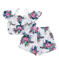Toddler Baby Girls Outfit Halter Bowknot Strap Crop Tops + Coconut Tree Shorts Pants Set 1-5T