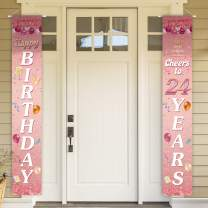 Happy Birthday Cheers to 24 Years Pink Yard Sign Door Banner 24th Birthday Decorations Party Supplies