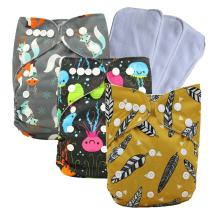 Ohbabyka Reusable Pocket Cloth Diapers Washable Adjustable One Size for Baby Boys and Girls +3PCS Inserts