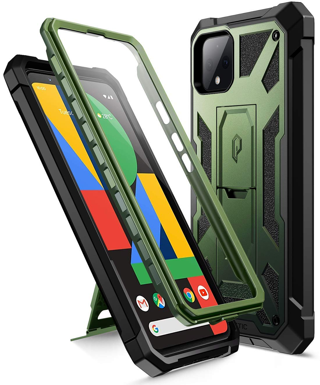 Poetic Spartan Series Designed for Google Pixel 4 5.7 inch Case, Full-Body Rugged Dual-Layer Metallic Color with Premium Leather Texture Shockproof Protective Cover with Kickstand, Metallic Green
