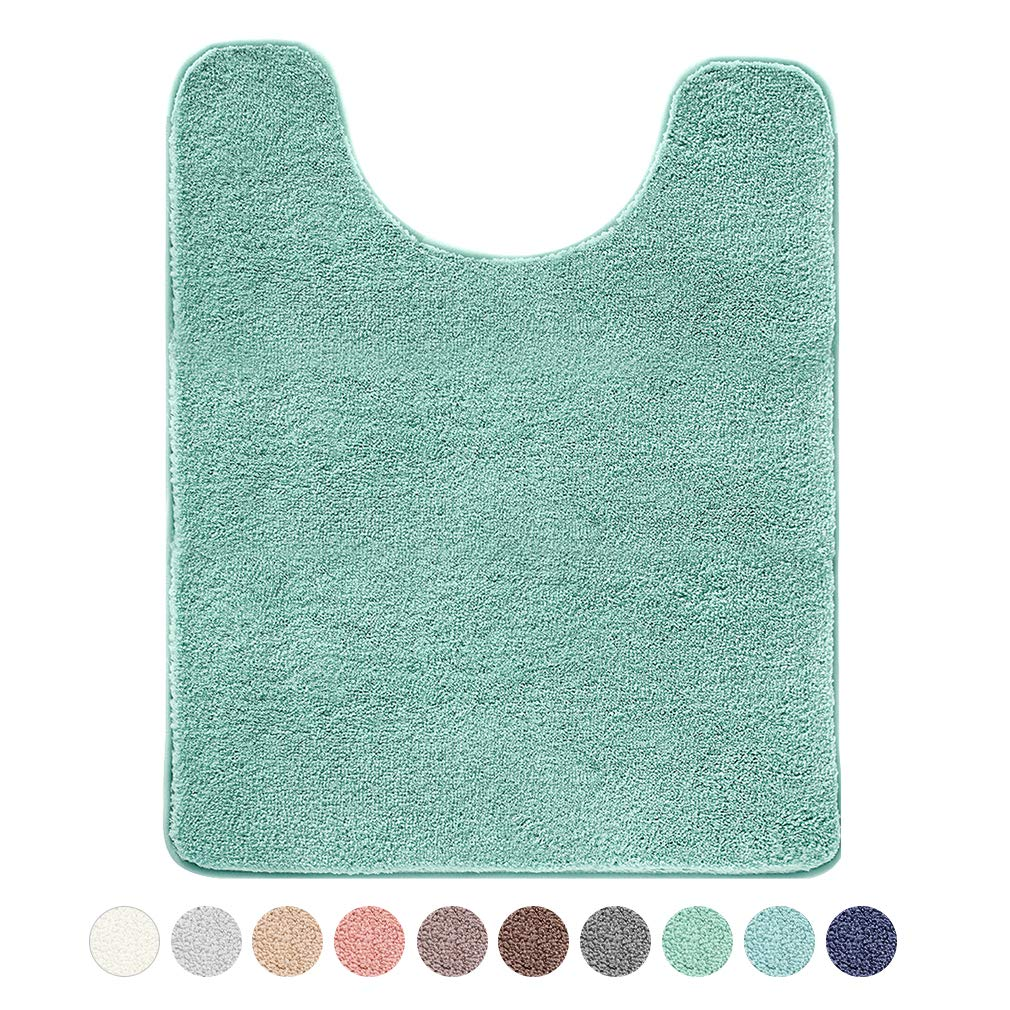 """VANZAVANZU Toilet Contour Rug 20""""x24"""" U-Shaped, Ultra Soft & Non Slip Absorbent Fluffy Thick Microfiber Machine Washable, Component of The Bathroom Floor Mats Set with Waterproof Backing (Egg Blue)"""