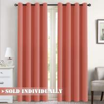 """Flamingo P Blackout Curtain for Bedroom/Living Room Thermal Insulated Energy Efficient Window Treatment Curtain Drapes Draperies Soft Thick Smooth Room Darkening Single Panel 52"""" W x 96"""" L, Coral"""