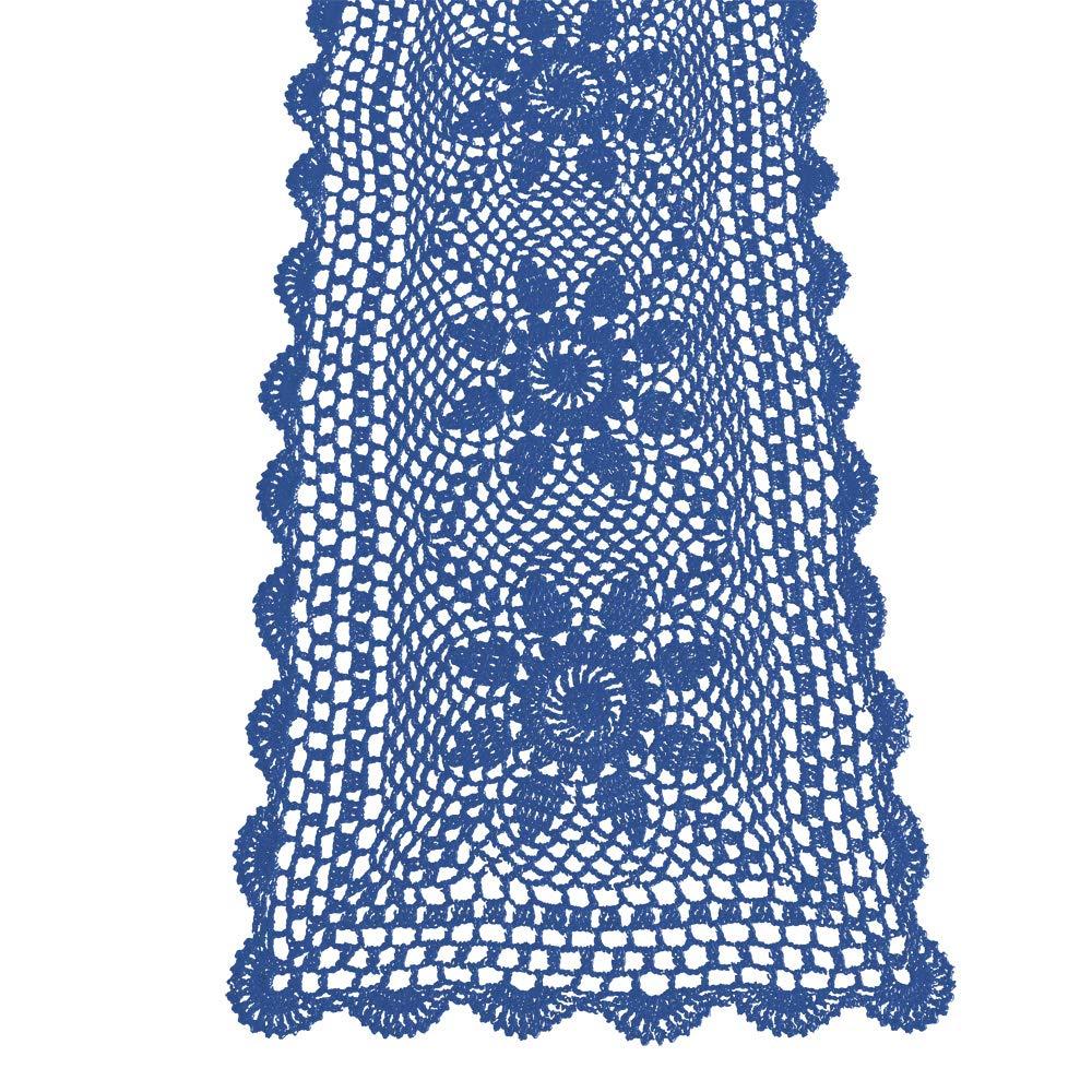 KEPSWET Sunflower Cotton Handmade Crochet Lace Rectangle Table Runner Coffee Table Decor (14x36 inch, Blue)
