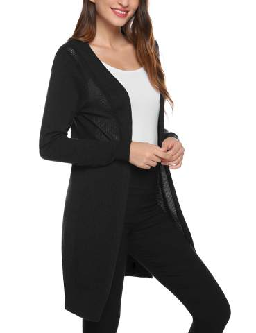 Aiboria Womens Casual Knit Long Sleeve Open Front Cardigan Sweater