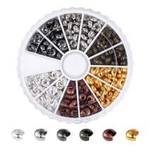 Pandahall 6 Colors 4x3mm Brass Open Crimp Beads Covers Knot Covers Beads End Tips for Jewelry Makings About 250pcs/ Box