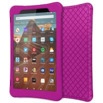 """MoKo Case for All-New Fire HD 10 Tablet (7th Generation/9th Generation, 2017/2019 Release), Shockproof Soft Silicone Back Cover [Kids Friendly] for Fire HD 10.1"""", Fuchsia"""