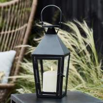 Lights4fun, Inc. Regular Black Metal Battery Operated LED Flameless Candle Lantern for Indoor Outdoor Use