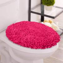 LuxUrux Toilet Lid Cover, Extra-Soft Plush Seat Cloud Washable Shaggy Microfiber Standard Toilet Lid Covers for Bathroom Machine Wash & Dry. Product Name (Elongated Lid Cover, Hot Pink)