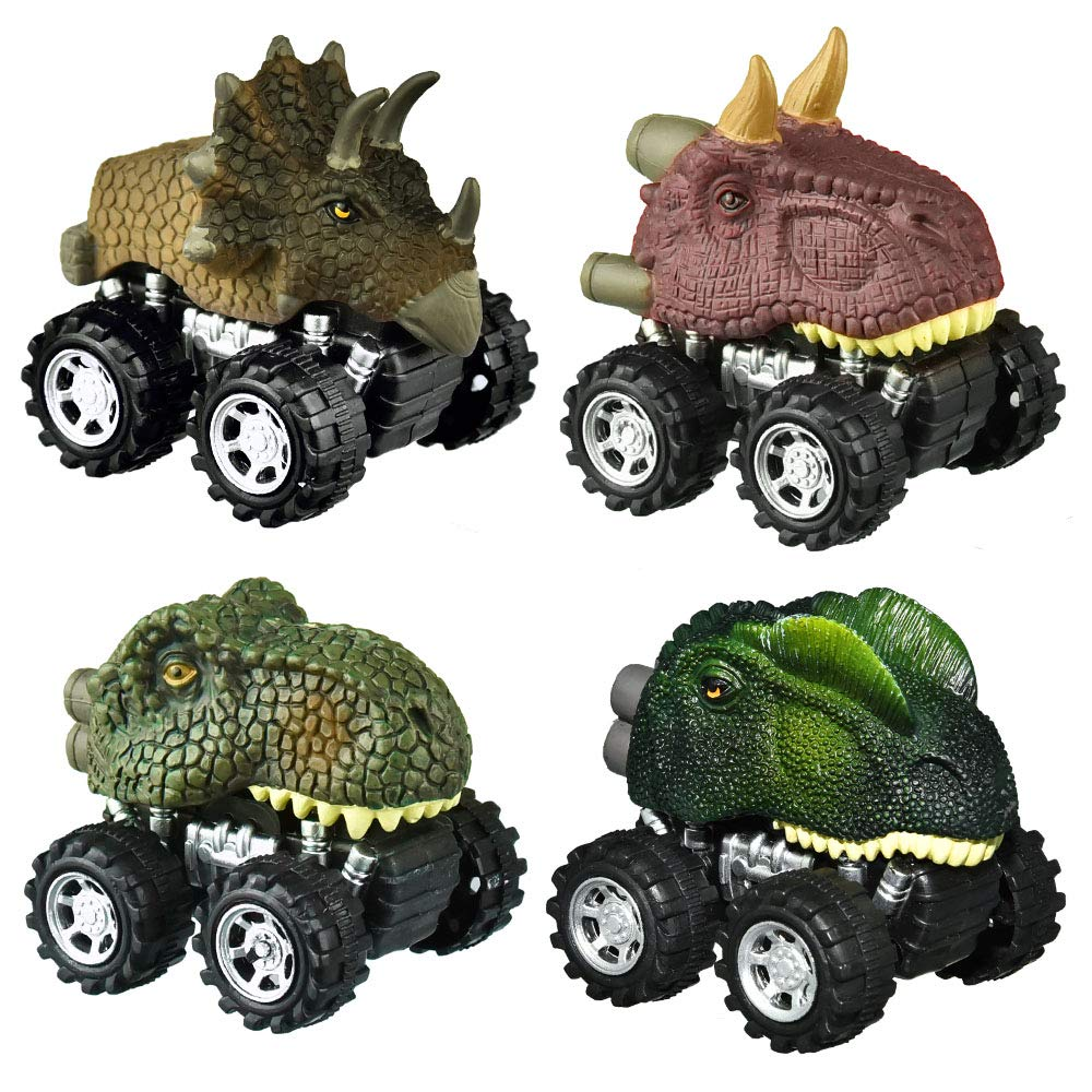 dmazing Birthday Easter Gifts for 3-6 Year Olds Kids, Pull Back Vehicles Go Car Toy Play Set Dinosaur EasterToys for 3-6 Year Olds Boys Easter Toys for 3-4 Year Olds Party Favors for Kids 4 Pack