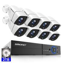 【Email/Phone App Alerts】 SMONET 5MP Security Camera System, 8CH Wired DVR Recorder with 2TB HDD, 8X 5MP(2560TVL) Indoor Outdoor IP66 Weatherproof CCTV Surveillance Cameras,Night Vision,Remote Access