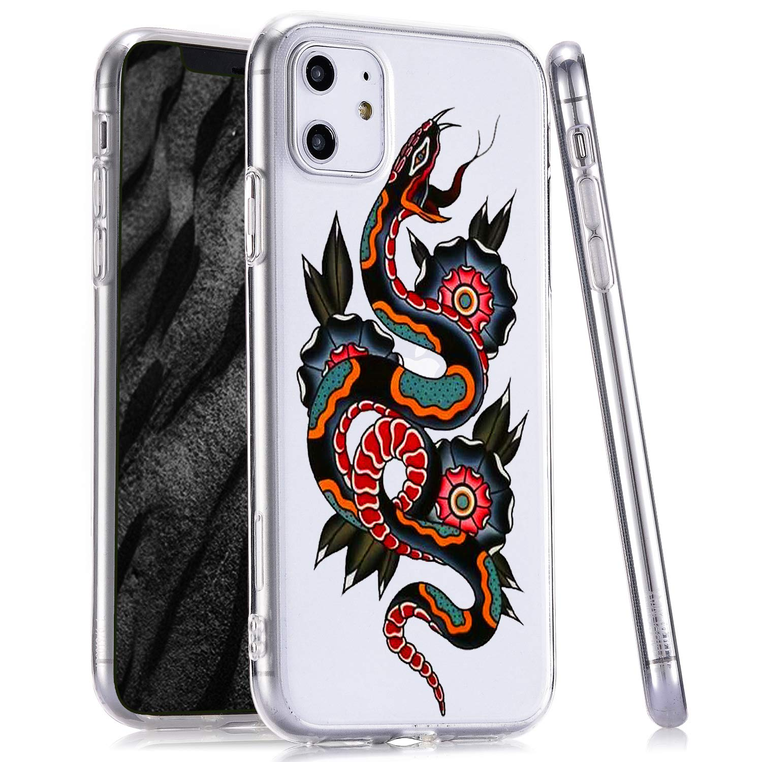 LuGeKe Snake Print Phone Case for iPhone 11, Slim Fit Animal Tattoo Pattern Clear TPU Cases Cover Scratch Resistant Flexible Transparent Skin Frame (Fashion Snake)