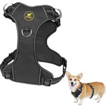 ZHEBU Dog Harness for Large Dogs No Pull, Reflective Dog Vest Harness with Handle, Easy Walk Front Clip Harness Dog(Black, M)