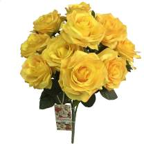 DALAMODA Egg Yellow 2 Bundles (with Total 20 Heads) Rose Flower Bouquet, for DIY Any Decoration Artificial Silk Flower