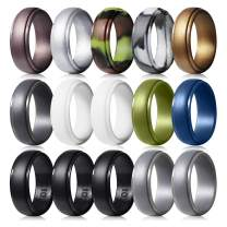 LNQ LUNIQI Silicone Wedding Ring for Men, 11 Colors 15 Pack Durable Rubber Safe Band for Love, Couple, Souvenir and Outdoor Workout Gym Active Exercise Style