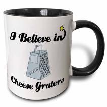"3dRose 105007_4""I Believe In Cheese Graters Two Tone Mug, 11 oz, Black/White"
