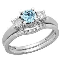 Dazzlingrock Collection 14K 5 MM Round Gemstone & White Diamond Bridal 3 Stone Engagement Ring Wedding Set, White Gold