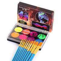 CCbeauty UV Blacklight Glow Face & Body Paint Palette Water Based Painting with 10 Blue Brushes,1 Art Brush