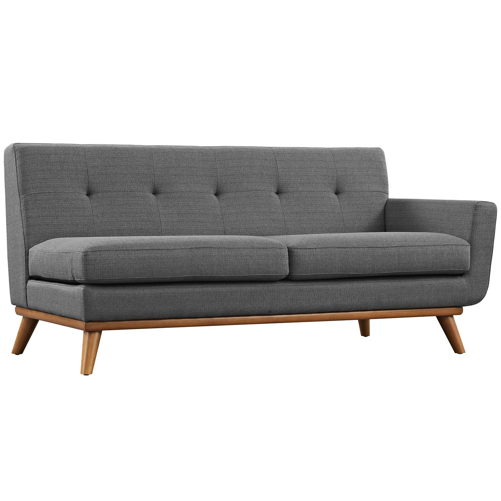 Modway Engage Mid-Century Modern Upholstered Fabric Right-Arm Loveseat In Gray