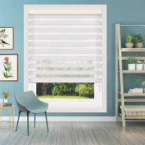 Keego Window Blinds Custom Cut to Size, Hemp Zebra Blinds with Dual Layer Roller Shades, [Size W 57 x H 52] Dual Layer Sheer or Privacy Light Control for Day and Night