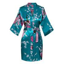 Joy Bridalc Women's Short Floral Kimono Robe Peacock&Blossom Bridesmaid Robe for Wedding